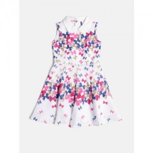 2cafd41d5 Buy Bella Moda Girls Black & Mustard Yellow Floral Print Fit & Flare ...