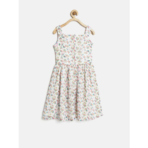 YK Girls White Polyester Floral Print Fit & Flare Dress