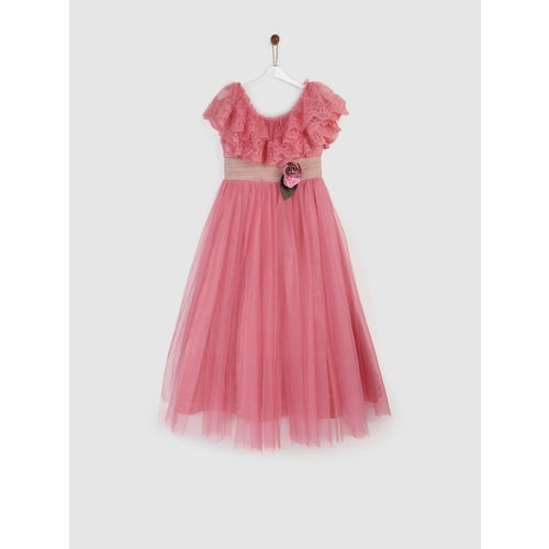 YK Girls Pink Lace Fit and Flare Dress