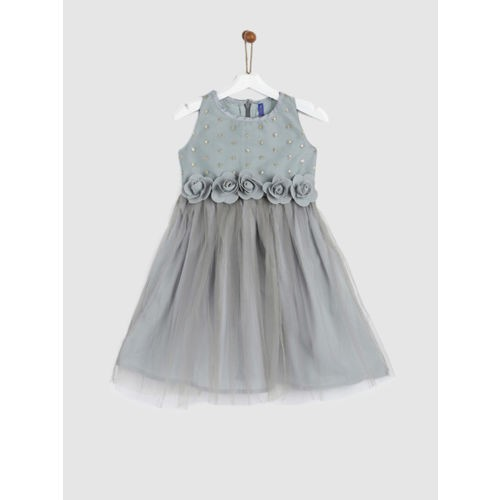 YK Girls Grey Embellished Fit and Flare Dress
