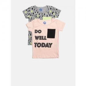 YK Girls Pack of 2 Printed Round Neck T-shirts