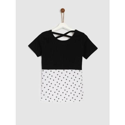 YK Girls White Colourblocked T-shirt
