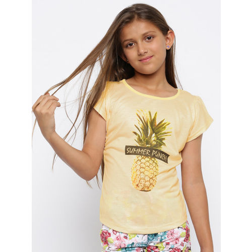 YK Girls Yellow Pineapple Print T-shirt