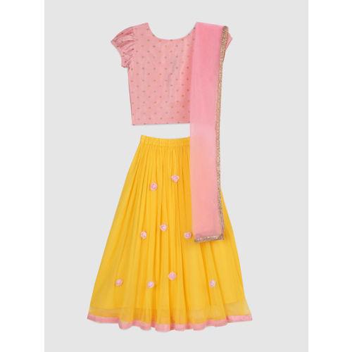YK Girls Yellow & Peach-Coloured Printed Ready to Wear Lehenga & Blouse with Dupatta