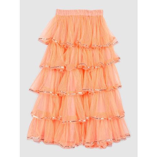 YK Girls Orange & Green Embellished Ready to Wear Lehenga & Blouse with Dupatta