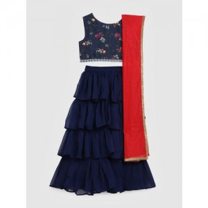 YK Navy Blue Ready to Wear Lehenga & Blouse with Dupatta