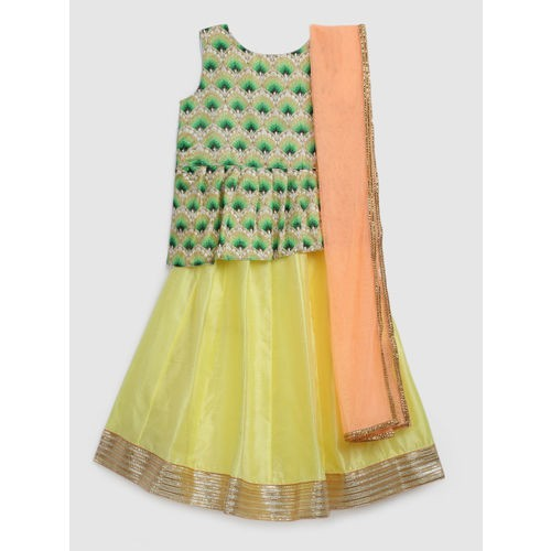 YK Girls Green & Yellow Printed Ready to Wear Lehenga & Blouse with Dupatta