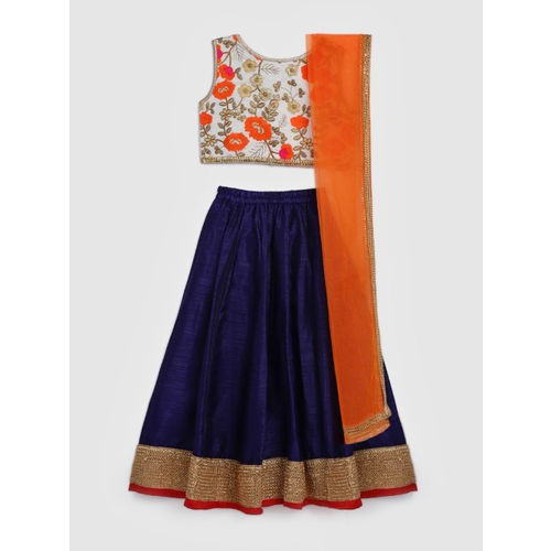 YK Girls Blue & White Embroidered Ready to Wear Lehenga & Blouse with Dupatta