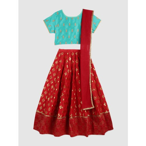 YK Girls Sea Green & Red Embroidered Ready to Wear Lehenga & Blouse with Dupatta