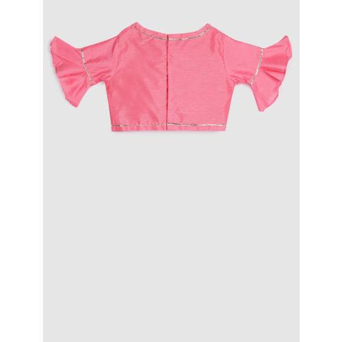 YK Girls Pink & Mustard Solid Ready to Wear Lehenga & Blouse with Dupatta