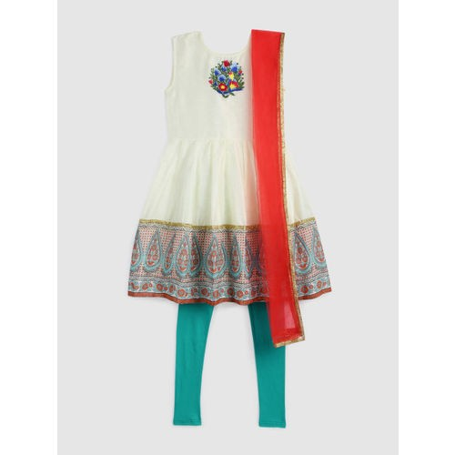 YK Girls Off white & Blue Embroidered Kurti with Churidar & Dupatta