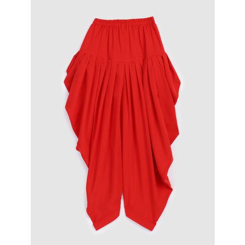 YK Girls Grey & Red Self Design Kurta with Patiala Pants & Dupatta