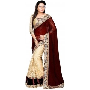Shree Creation Cream Embriodered Bollywood Net Sari