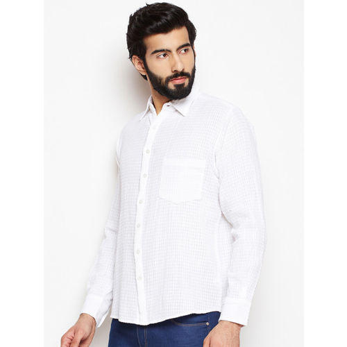 Oxolloxo Men White Regular Fit Solid Casual Shirt