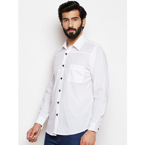 Oxolloxo Men Off White Regular Fit Solid Casual Shirt
