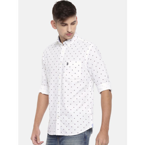 U.S. Polo Assn. Men White Tailored Fit Printed Casual Shirt