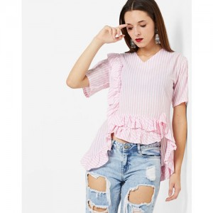 b6d92b7e8eae62 Buy AJIO Ribbed One-Shoulder Top with Ruffled Overlay online ...
