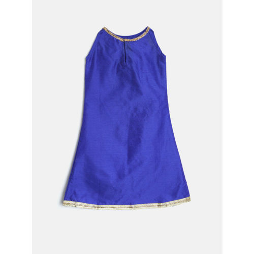 YK Girls Blue & Red Solid Kurta with Salwar & Dupatta