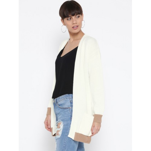 FOREVER 21 Women White Solid Cardigan