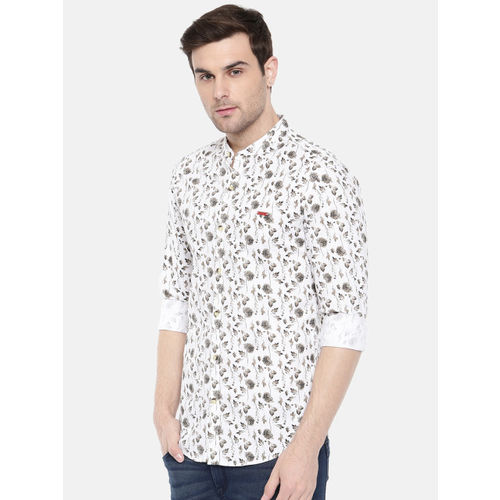 The Indian Garage Co Men White Regular Fit Printed Casual Shirt