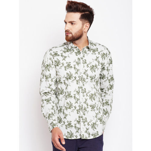 Oxolloxo Men White & Green Regular Fit Printed Casual Shirt