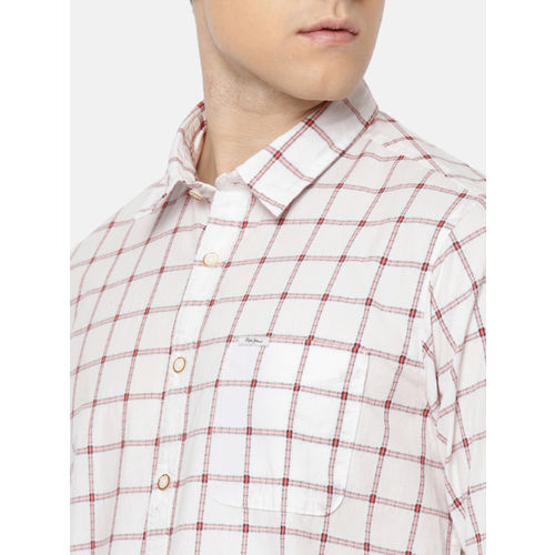 Pepe Jeans Men White & Red Checked Casual Shirt