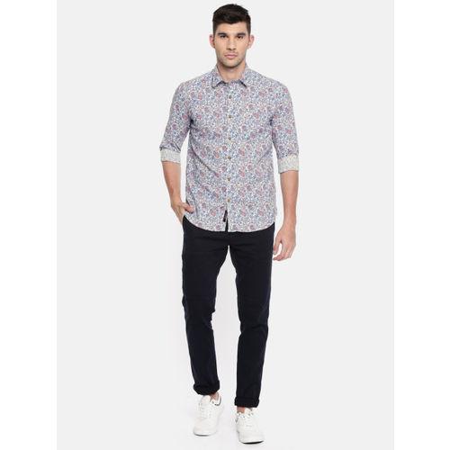 U.S. Polo Assn. Denim Co. Men White & Blue Slim Fit Printed Casual Shirt