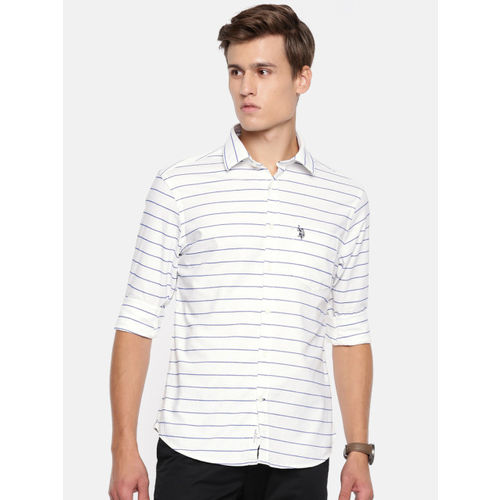 U.S. Polo Assn. Men White & Blue Tailored Fit Striped Casual Shirt