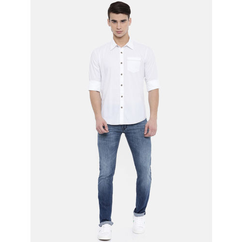 Pepe Jeans Men White Slim Fit Solid Casual Shirt