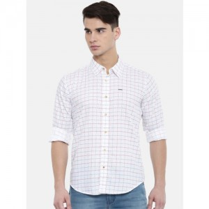 Pepe Jeans Men White Slim Fit Checked Casual Shirt