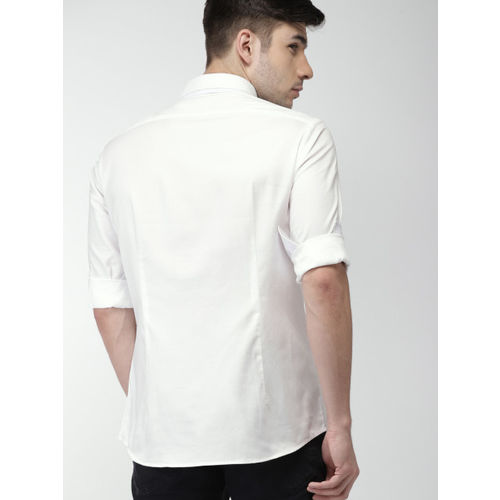Celio Men White Slim Fit Solid Casual Shirt