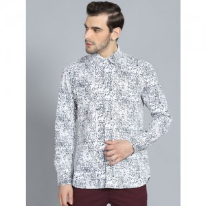 Rohit Bal Limited Men White & Charcoal Grey Regular Fit Printed Casual Shirt