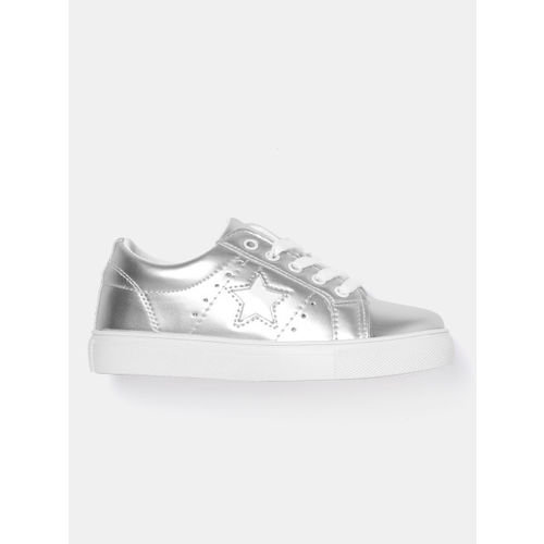 YK Girls Silver-Toned Sneakers