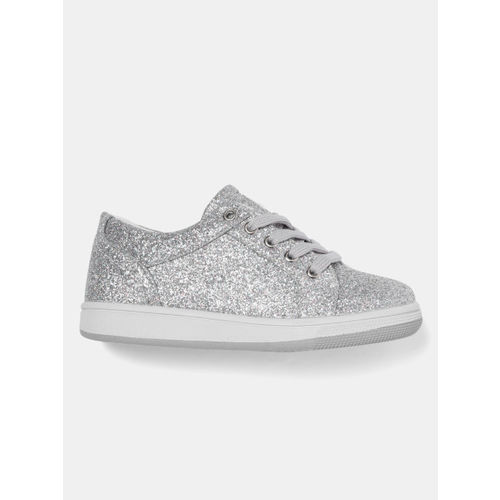 YK Girls Silver-Toned Shimmer Sneakers