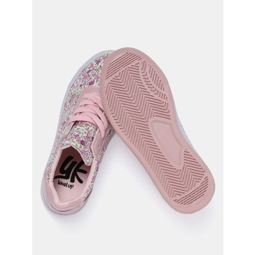 YK Girls Pink & Off-White Floral Print Sneakers