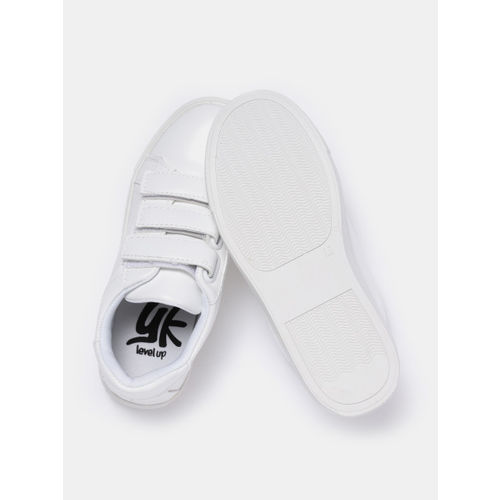 YK Girls White Solid Sneakers