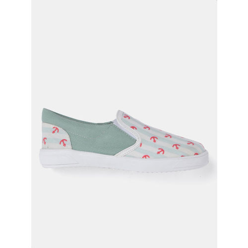 YK Girls Green & Off-White Printed Slip-On Sneakers