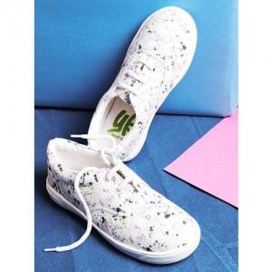 YK Girls Off-White Printed Sneakers