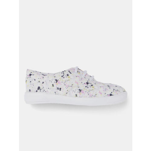 YK Girls Off-White Printed Sneakers