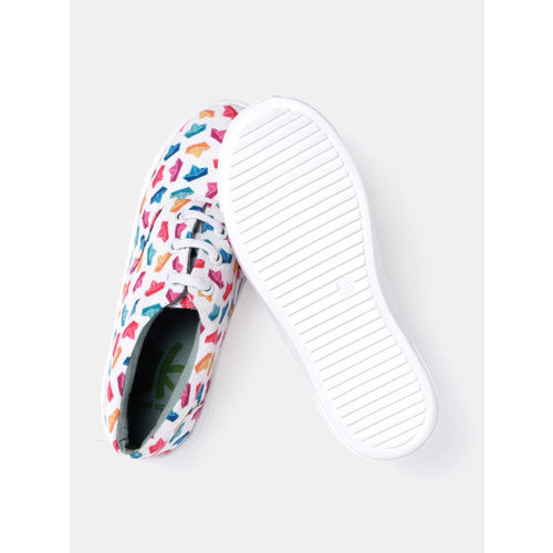 YK Girls White & Pink Printed Sneakers