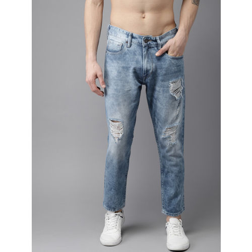 361f102f4 ... Moda Rapido Men Blue Slim Fit Mid-Rise Highly Distressed Cropped Jeans  ...
