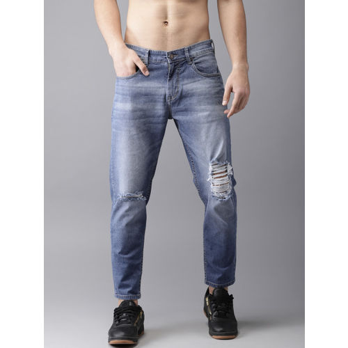 2f4af7164 ... Moda Rapido Men Blue Slim Tapered Fit Mid-Rise Highly Distressed  Stretchable Jeans ...
