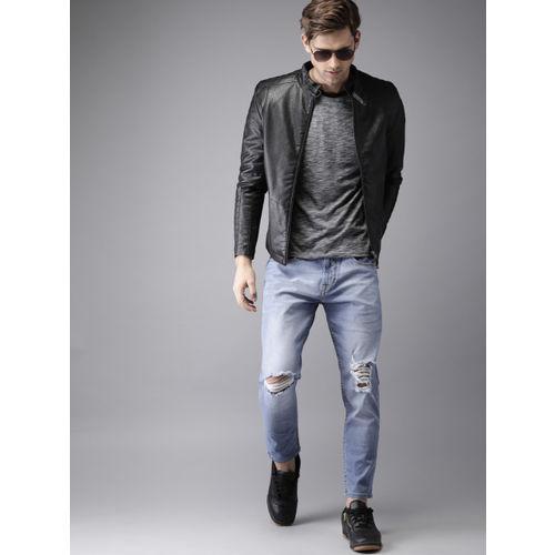 Moda Rapido Men Blue Slim Tapered Fit Mid-Rise Slash Knee Stretchable Jeans