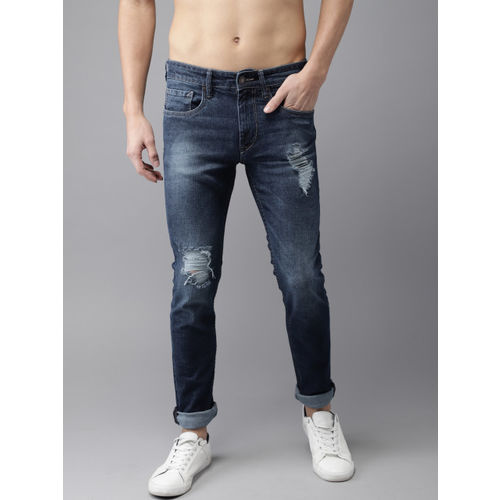 Moda Rapido Men Blue Slim Fit Mid-Rise Mildly Distressed Stretchable Jeans
