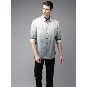 Flying Machine Men White & Black Regular Fit Printed Casual Shirt
