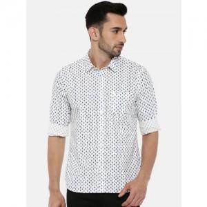 Pepe Jeans Men White & Blue Regular Fit Printed Casual Shirt