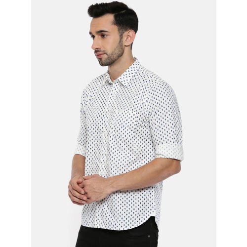 Pepe Jeans Men White & Blue Regular Fit Printed Casual Shirt