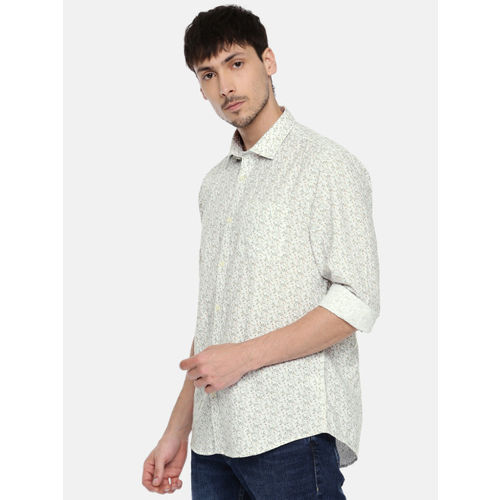 Blackberrys Men White & Green Slim Fit Printed Casual Shirt