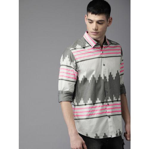 Moda Rapido Men White & Grey Printed Casual Shirt
