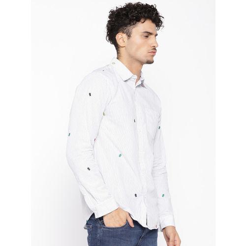 Jack & Jones Men White & Black Slim Fit Striped Casual Shirt